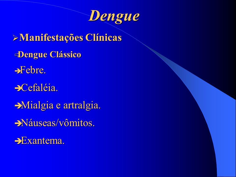 Dengue Manifestações Clínicas Cefaléia. Mialgia e artralgia.