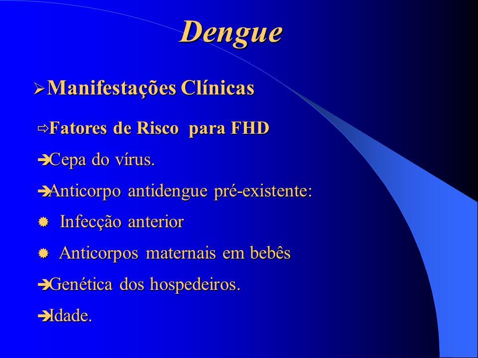 Dengue Manifestações Clínicas Fatores de Risco para FHD Cepa do vírus.