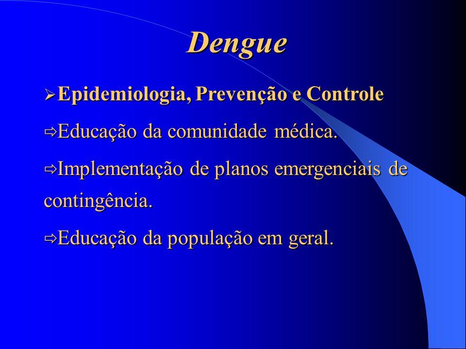 Dengue Epidemiologia, Prevenção e Controle