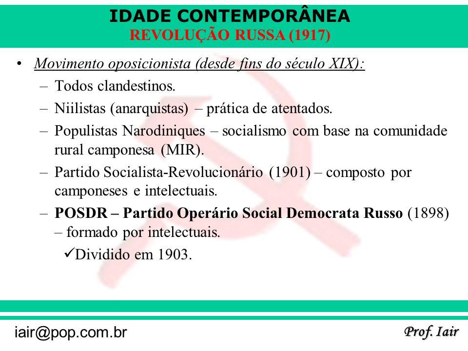 Movimento oposicionista (desde fins do século XIX):