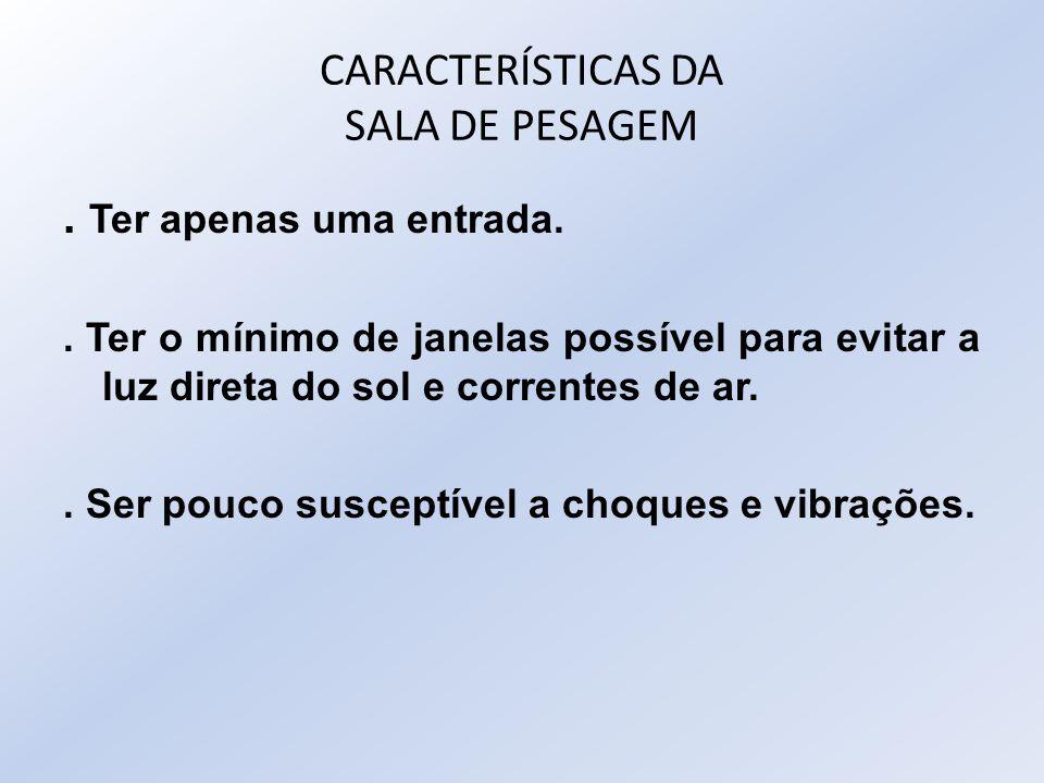 CARACTERÍSTICAS DA SALA DE PESAGEM