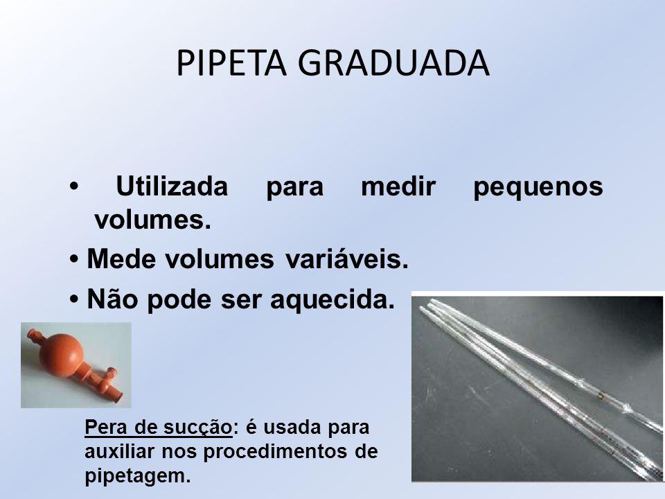 PIPETA GRADUADA • Utilizada para medir pequenos volumes.