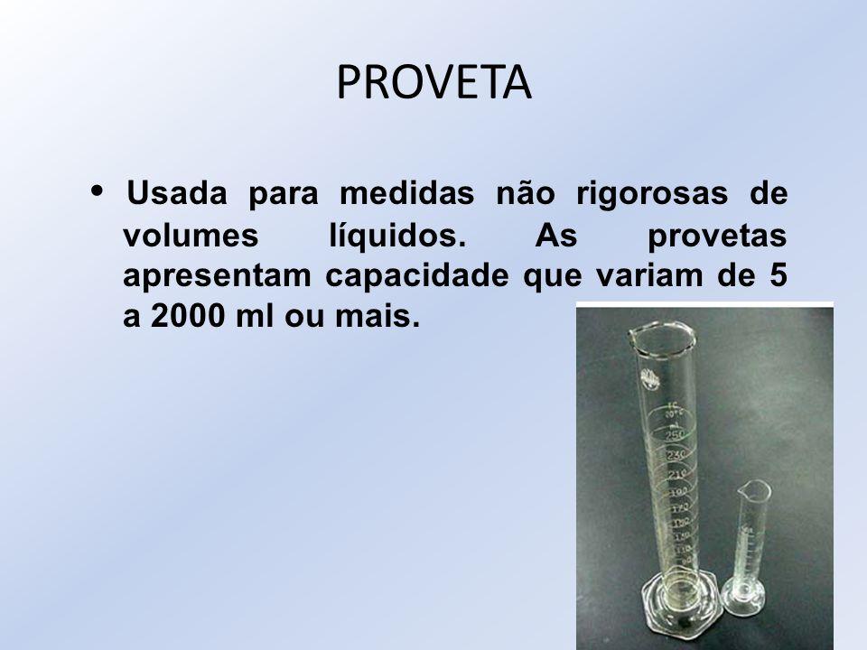 PROVETA • Usada para medidas não rigorosas de volumes líquidos.