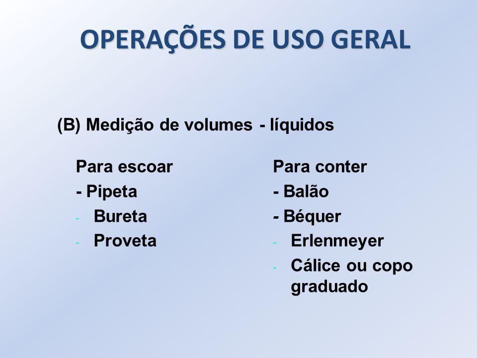 OPERAÇÕES DE USO GERAL (B) Medição de volumes - líquidos Para escoar