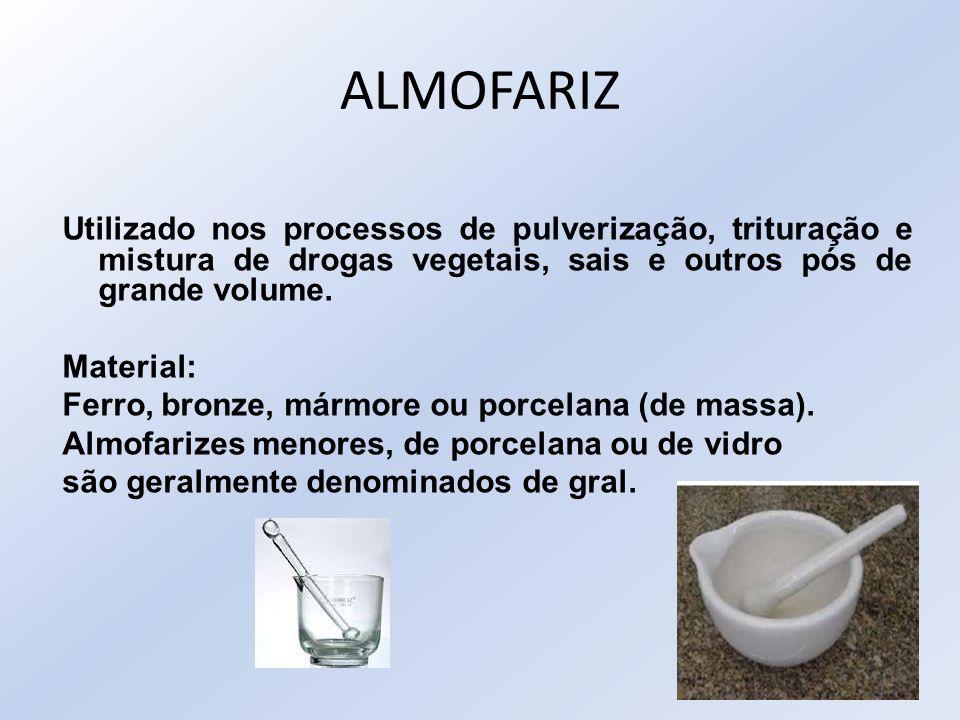 ALMOFARIZ Utilizado nos processos de pulverização, trituração e mistura de drogas vegetais, sais e outros pós de grande volume.