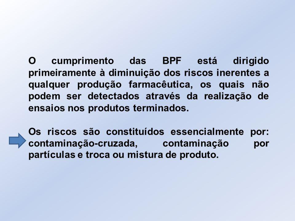 O cumprimento das BPF está dirigido primeiramente à diminuição dos riscos inerentes a qualquer produção farmacêutica, os quais não podem ser detectados através da realização de ensaios nos produtos terminados.
