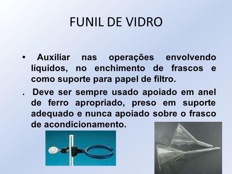 FUNIL DE VIDRO • Auxiliar nas operações envolvendo líquidos, no enchimento de frascos e como suporte para papel de filtro.