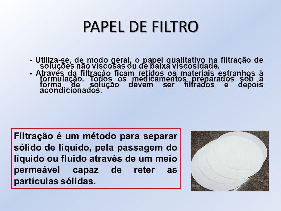 PAPEL DE FILTRO - Utiliza-se, de modo geral, o papel qualitativo na filtração de soluções não viscosas ou de baixa viscosidade.