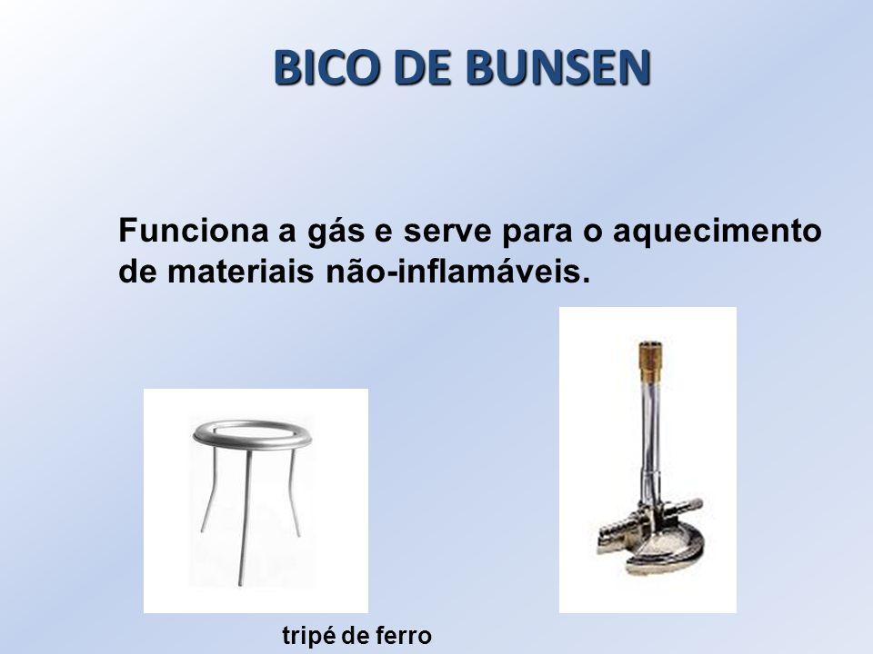 BICO DE BUNSEN Funciona a gás e serve para o aquecimento de materiais não-inflamáveis.