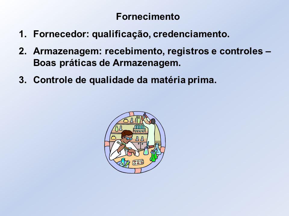Fornecimento Fornecedor: qualificação, credenciamento. Armazenagem: recebimento, registros e controles – Boas práticas de Armazenagem.