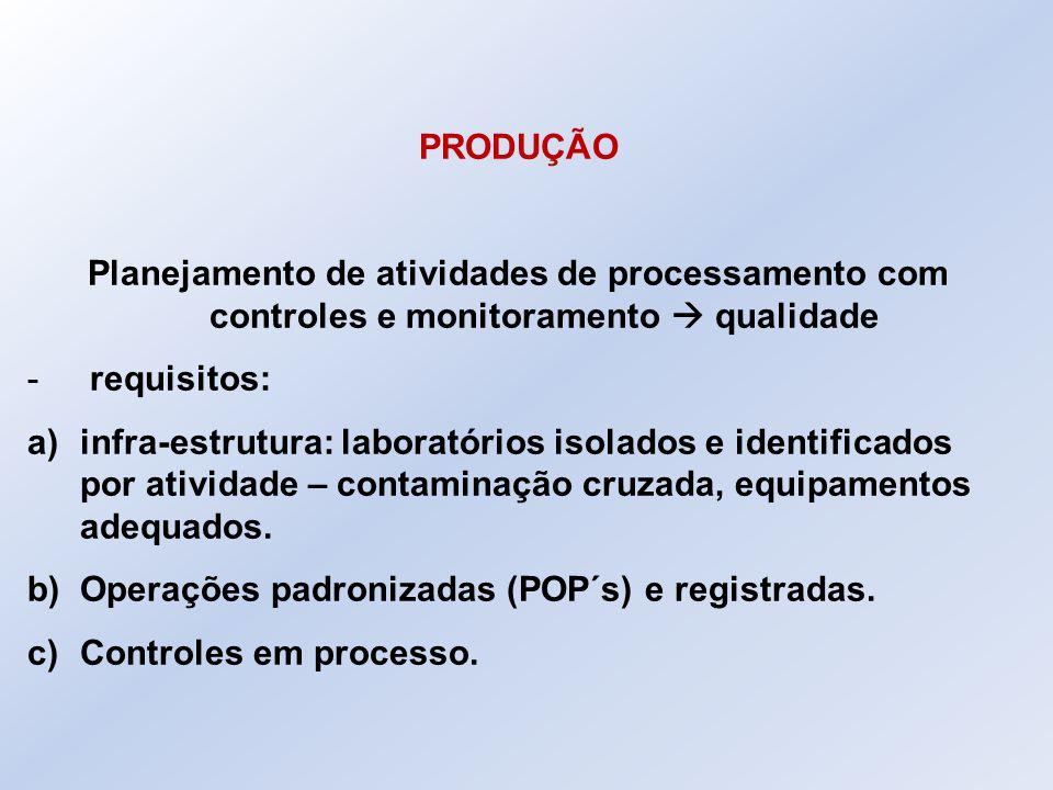 PRODUÇÃO Planejamento de atividades de processamento com controles e monitoramento  qualidade. requisitos: