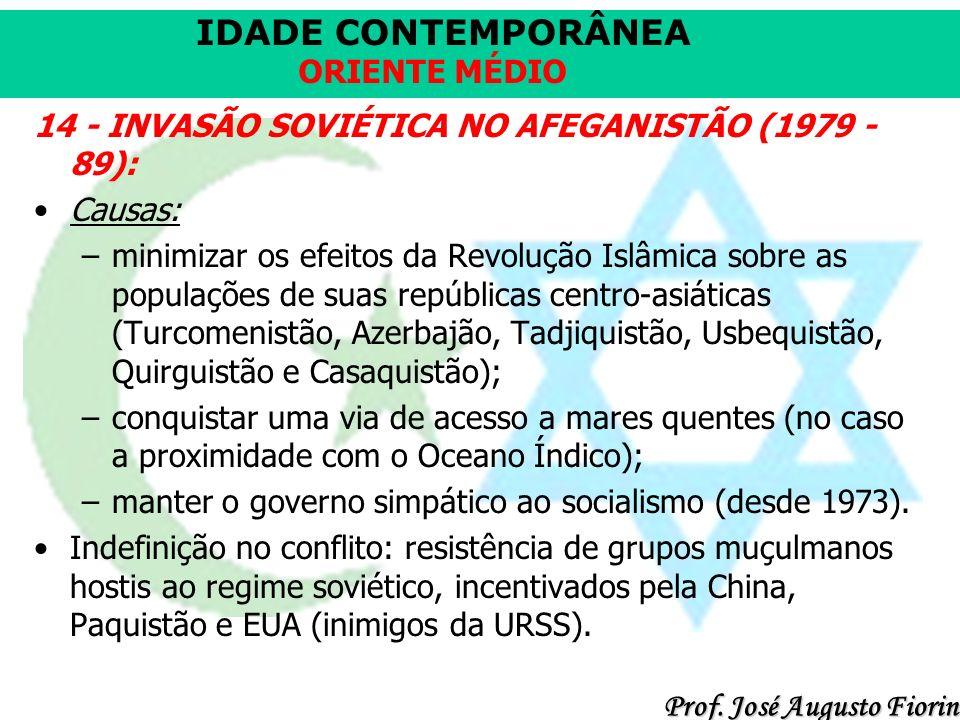 14 - INVASÃO SOVIÉTICA NO AFEGANISTÃO (1979 - 89):
