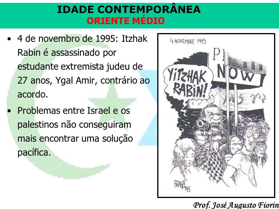 4 de novembro de 1995: Itzhak Rabin é assassinado por estudante extremista judeu de 27 anos, Ygal Amir, contrário ao acordo.