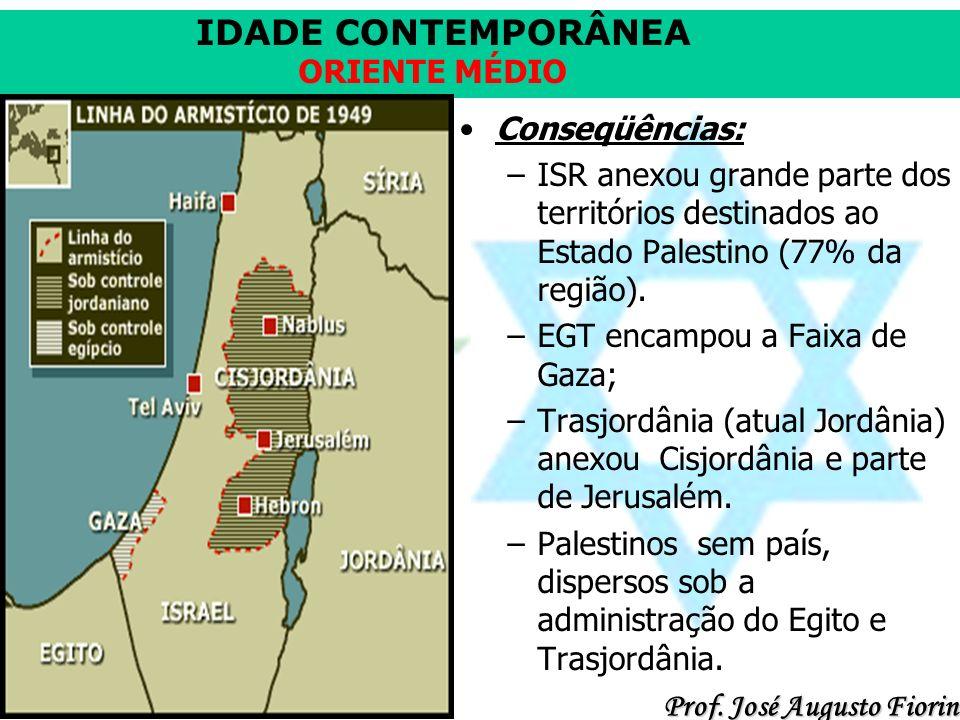 Conseqüências: ISR anexou grande parte dos territórios destinados ao Estado Palestino (77% da região).