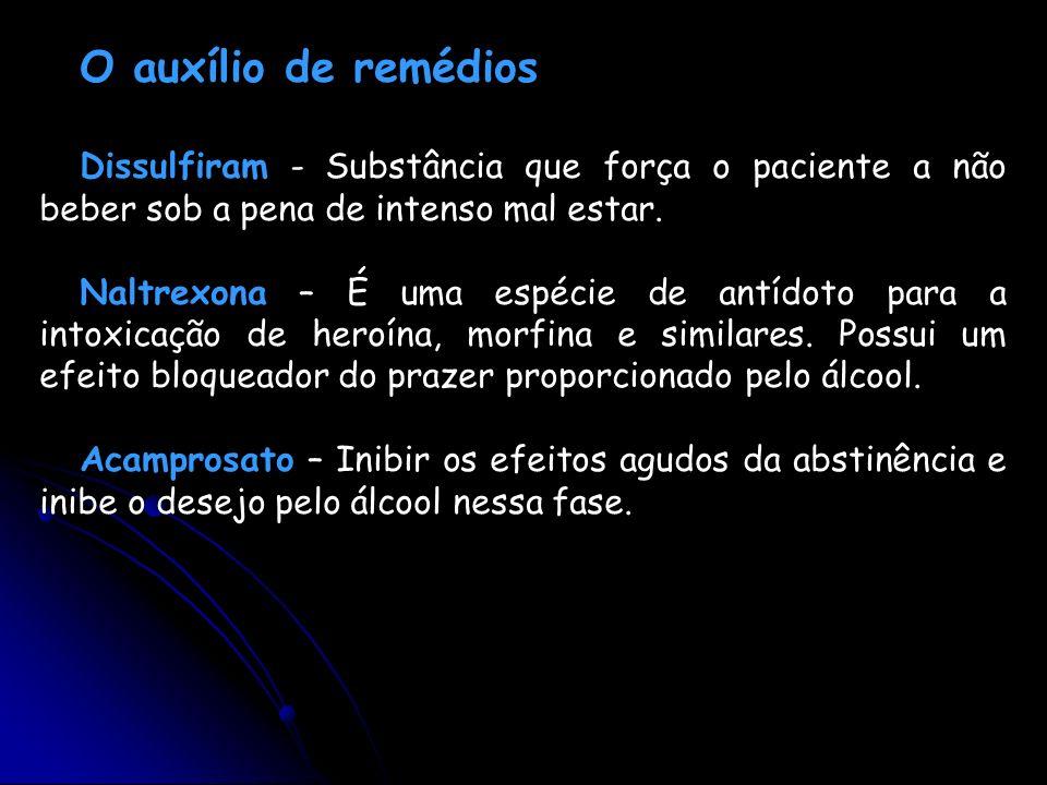 O auxílio de remédiosDissulfiram - Substância que força o paciente a não beber sob a pena de intenso mal estar.
