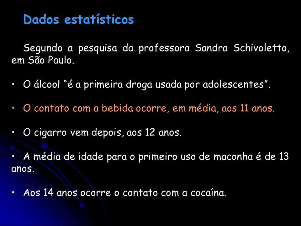 Dados estatísticosSegundo a pesquisa da professora Sandra Schivoletto, em São Paulo. O álcool é a primeira droga usada por adolescentes .
