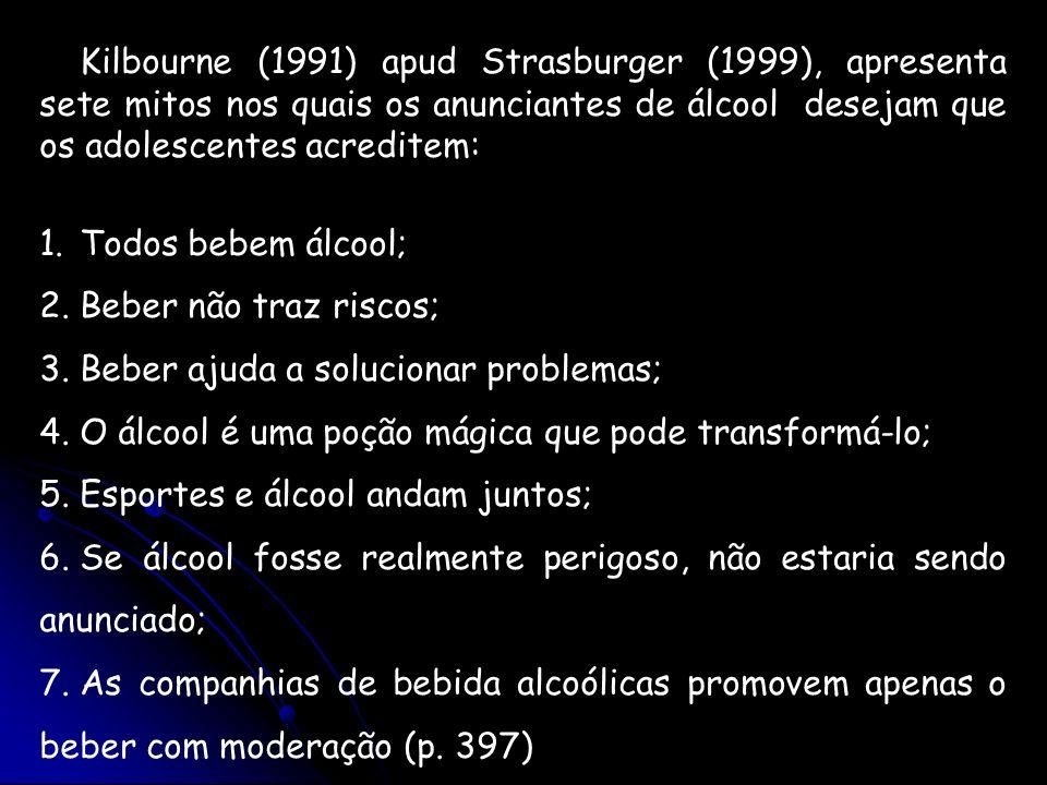 Kilbourne (1991) apud Strasburger (1999), apresenta sete mitos nos quais os anunciantes de álcool desejam que os adolescentes acreditem: