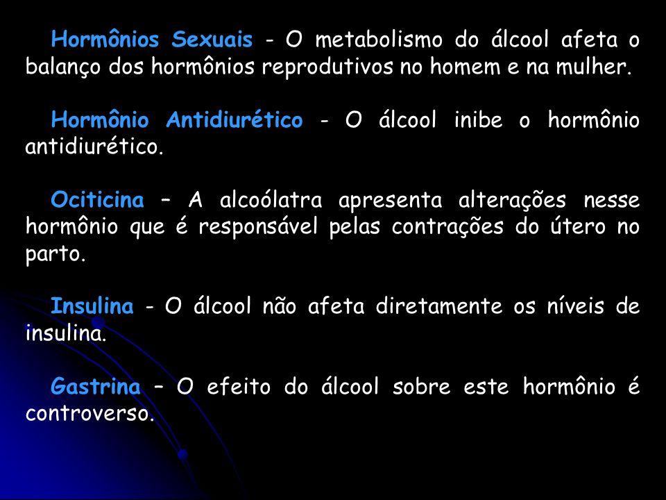 Hormônios Sexuais - O metabolismo do álcool afeta o balanço dos hormônios reprodutivos no homem e na mulher.