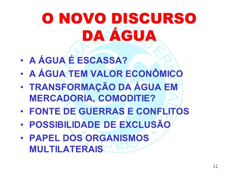 O NOVO DISCURSO DA ÁGUA A ÁGUA É ESCASSA A ÁGUA TEM VALOR ECONÔMICO