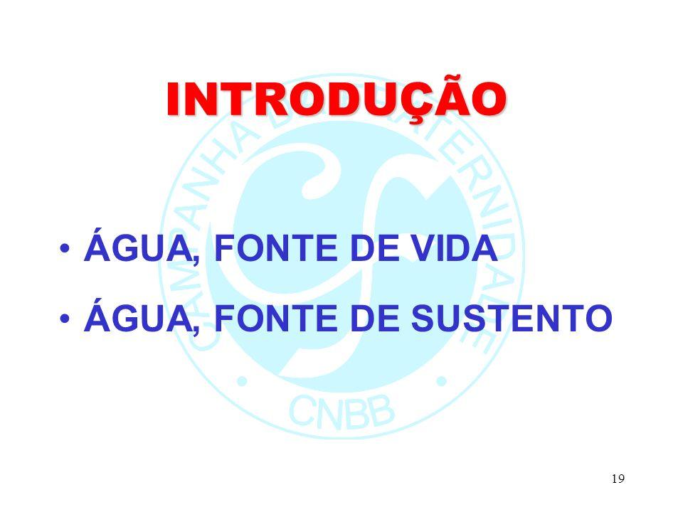 INTRODUÇÃO ÁGUA, FONTE DE VIDA ÁGUA, FONTE DE SUSTENTO