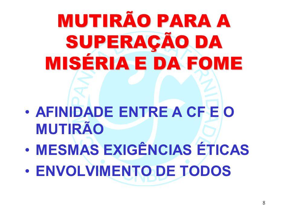 MUTIRÃO PARA A SUPERAÇÃO DA MISÉRIA E DA FOME