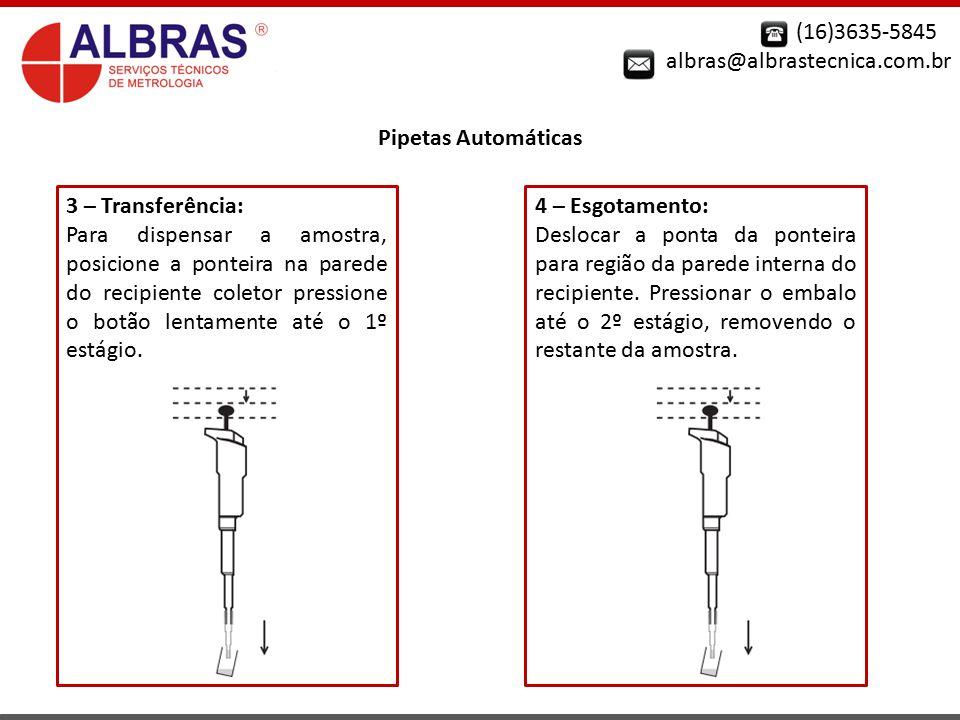 (16)3635-5845 albras@albrastecnica.com.br. Pipetas Automáticas. 3 – Transferência: