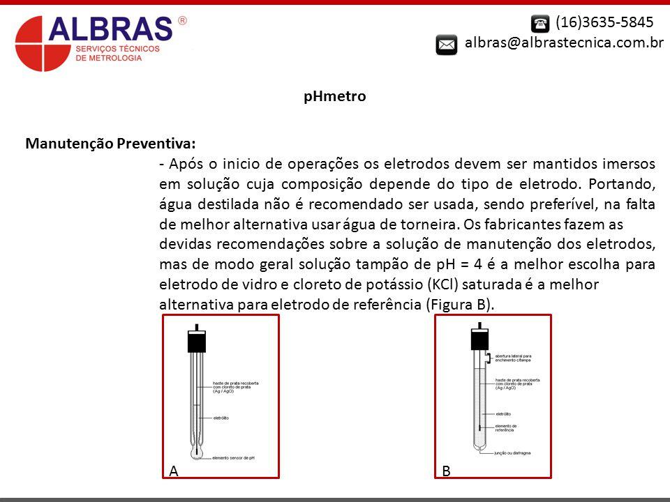 (16)3635-5845 albras@albrastecnica.com.br. pHmetro. Manutenção Preventiva: