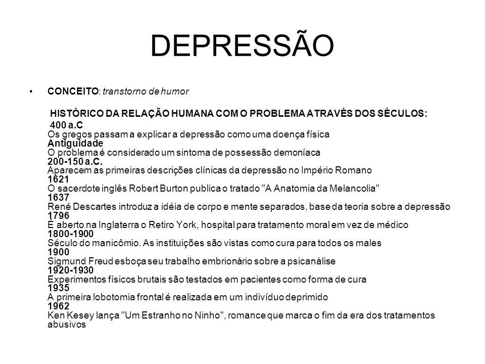 DEPRESSÃO CONCEITO: transtorno de humor