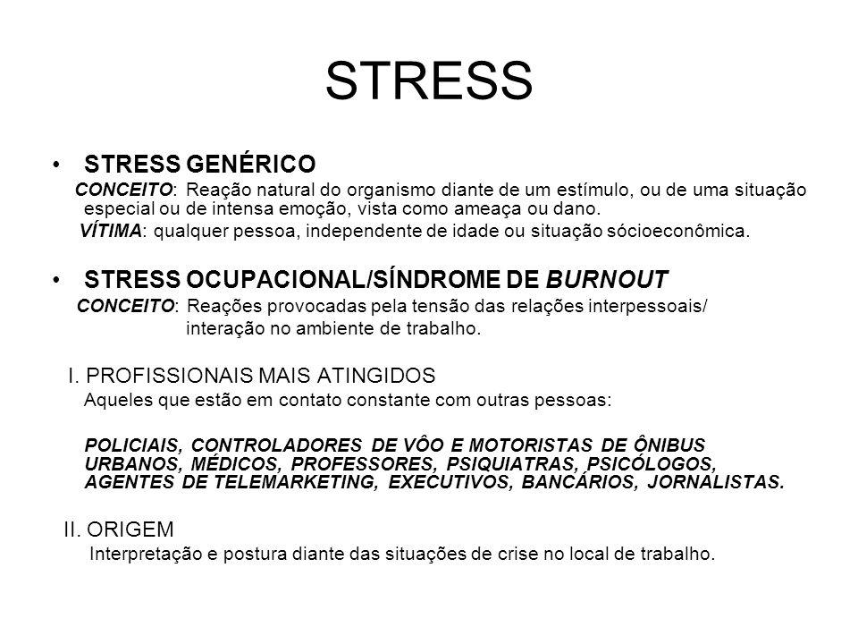 STRESS STRESS GENÉRICO STRESS OCUPACIONAL/SÍNDROME DE BURNOUT