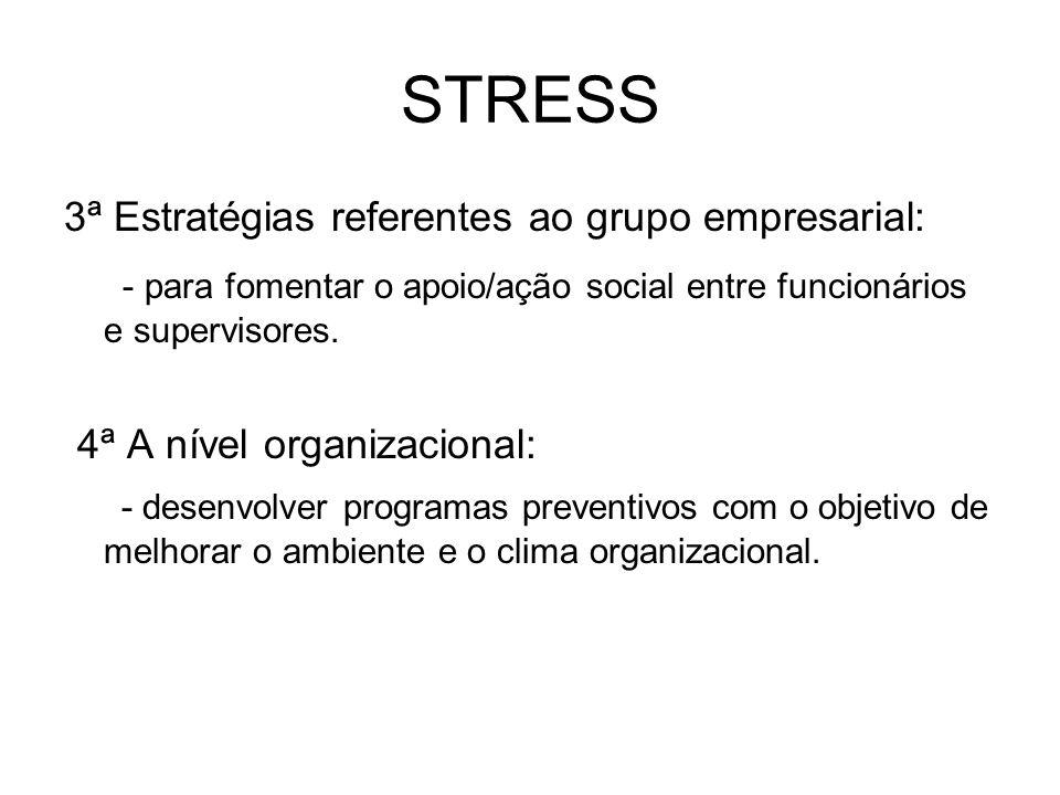 STRESS 3ª Estratégias referentes ao grupo empresarial: - para fomentar o apoio/ação social entre funcionários e supervisores.
