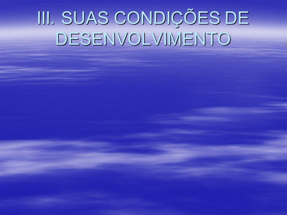 III. SUAS CONDIÇÕES DE DESENVOLVIMENTO