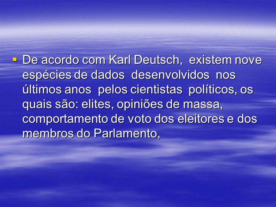 De acordo com Karl Deutsch, existem nove espécies de dados desenvolvidos nos últimos anos pelos cientistas políticos, os quais são: elites, opiniões de massa, comportamento de voto dos eleitores e dos membros do Parlamento,