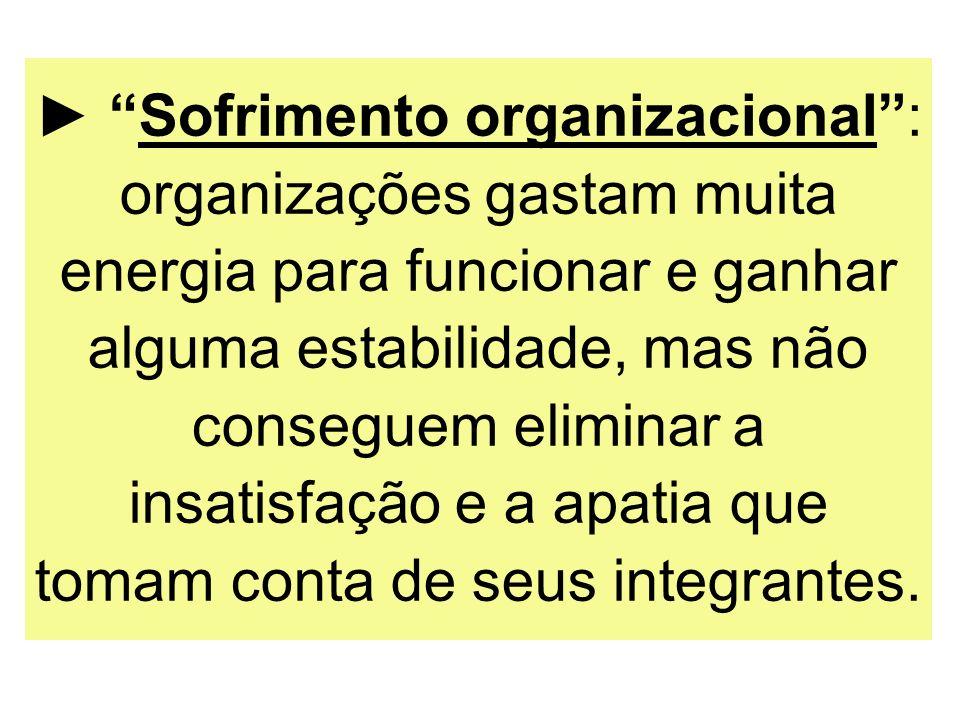► Sofrimento organizacional : organizações gastam muita energia para funcionar e ganhar alguma estabilidade, mas não conseguem eliminar a insatisfação e a apatia que tomam conta de seus integrantes.