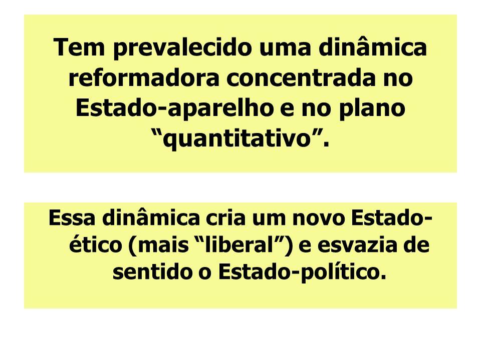 Tem prevalecido uma dinâmica reformadora concentrada no Estado-aparelho e no plano quantitativo .