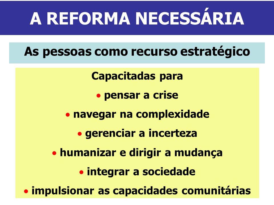 A REFORMA NECESSÁRIA As pessoas como recurso estratégico