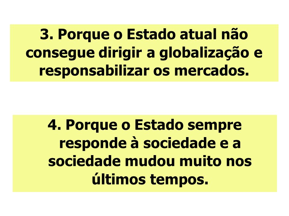 3. Porque o Estado atual não consegue dirigir a globalização e responsabilizar os mercados.