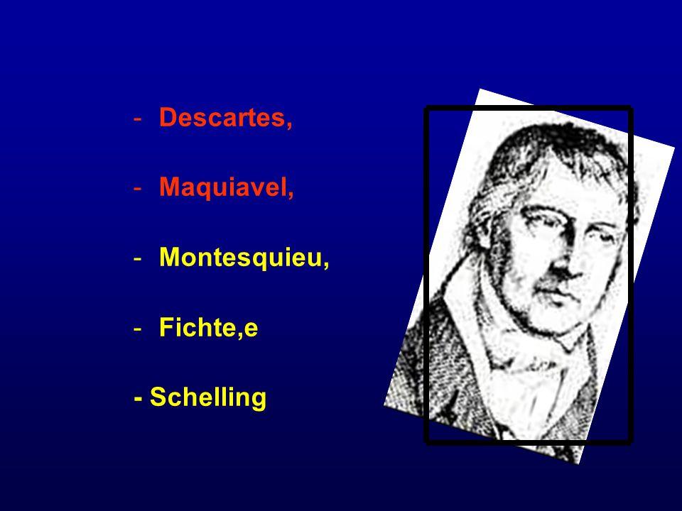Descartes, Maquiavel, Montesquieu, Fichte,e - Schelling