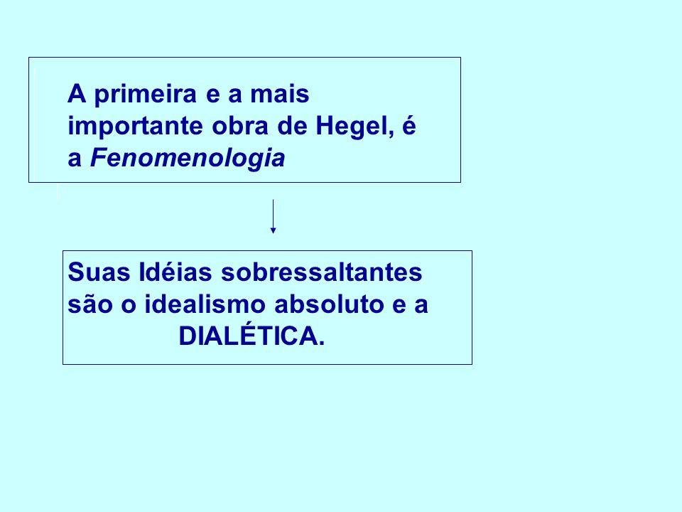 A primeira e a mais importante obra de Hegel, é a Fenomenologia Suas Idéias sobressaltantes são o idealismo absoluto e a DIALÉTICA.
