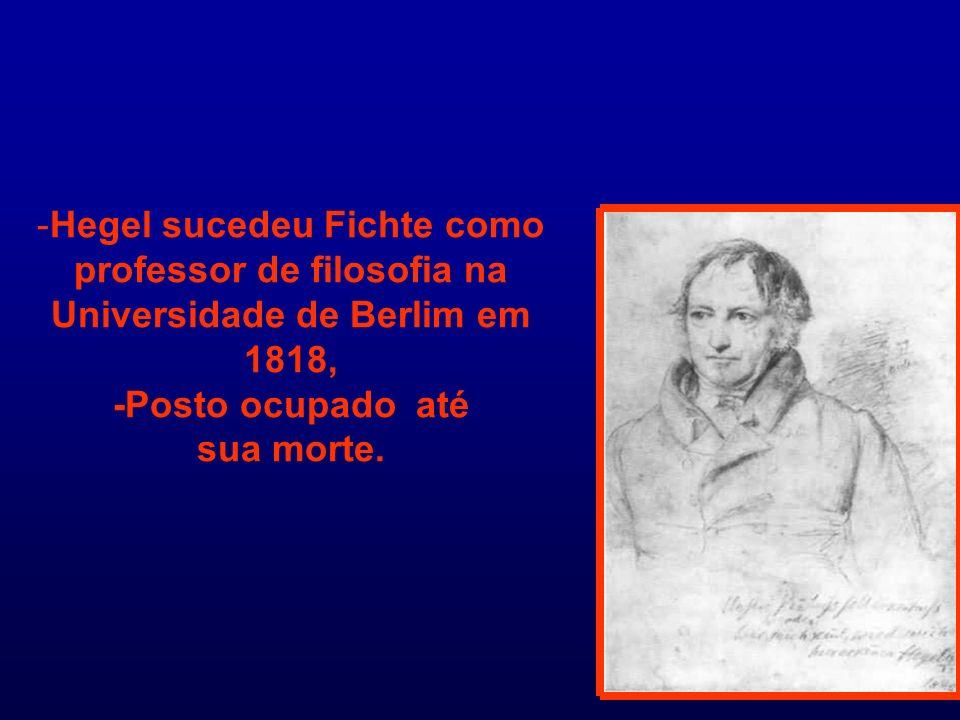 Hegel sucedeu Fichte como professor de filosofia na Universidade de Berlim em 1818, -Posto ocupado até sua morte.