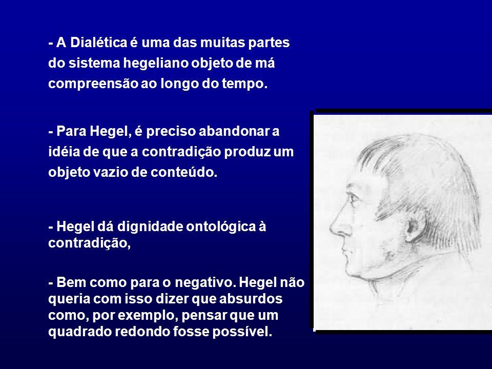 - A Dialética é uma das muitas partes do sistema hegeliano objeto de má compreensão ao longo do tempo.