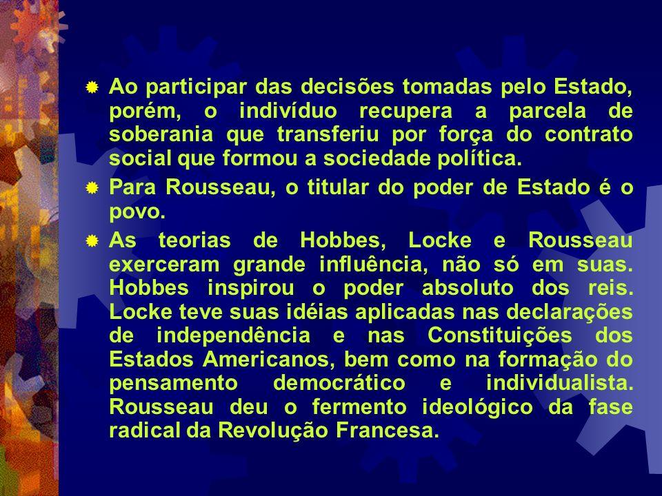 Ao participar das decisões tomadas pelo Estado, porém, o indivíduo recupera a parcela de soberania que transferiu por força do contrato social que formou a sociedade política.