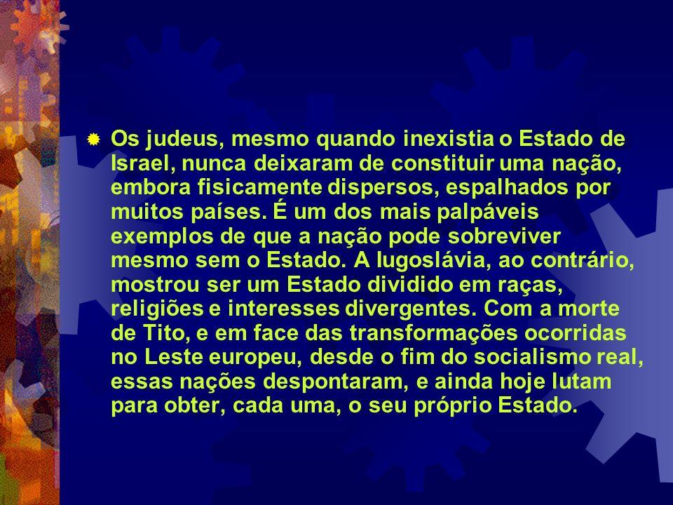 Os judeus, mesmo quando inexistia o Estado de Israel, nunca deixaram de constituir uma nação, embora fisicamente dispersos, espalhados por muitos países.