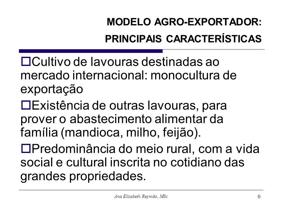MODELO AGRO-EXPORTADOR: PRINCIPAIS CARACTERÍSTICAS