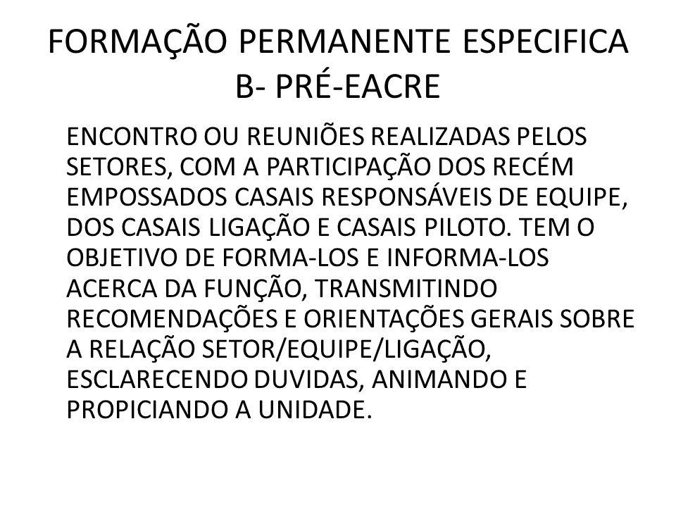FORMAÇÃO PERMANENTE ESPECIFICA B- PRÉ-EACRE