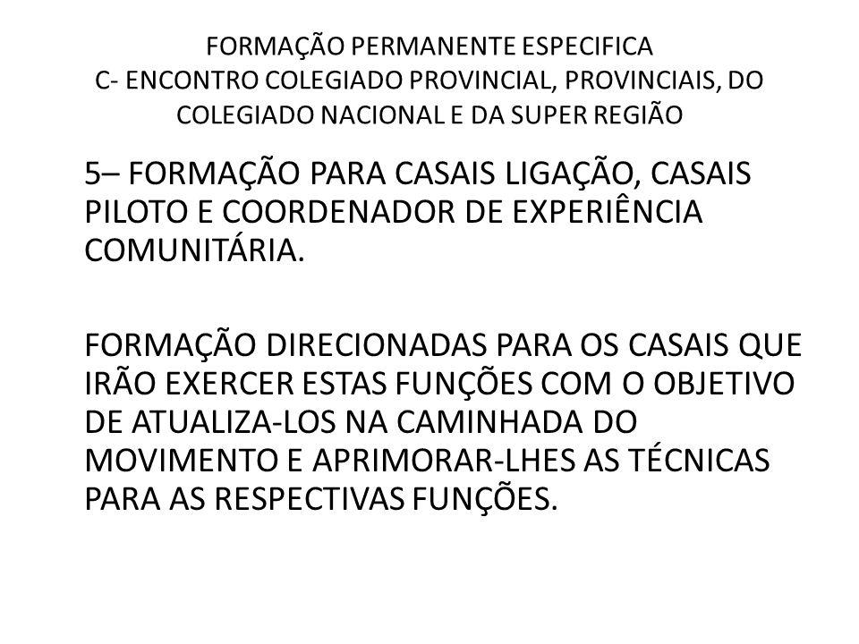 FORMAÇÃO PERMANENTE ESPECIFICA C- ENCONTRO COLEGIADO PROVINCIAL, PROVINCIAIS, DO COLEGIADO NACIONAL E DA SUPER REGIÃO