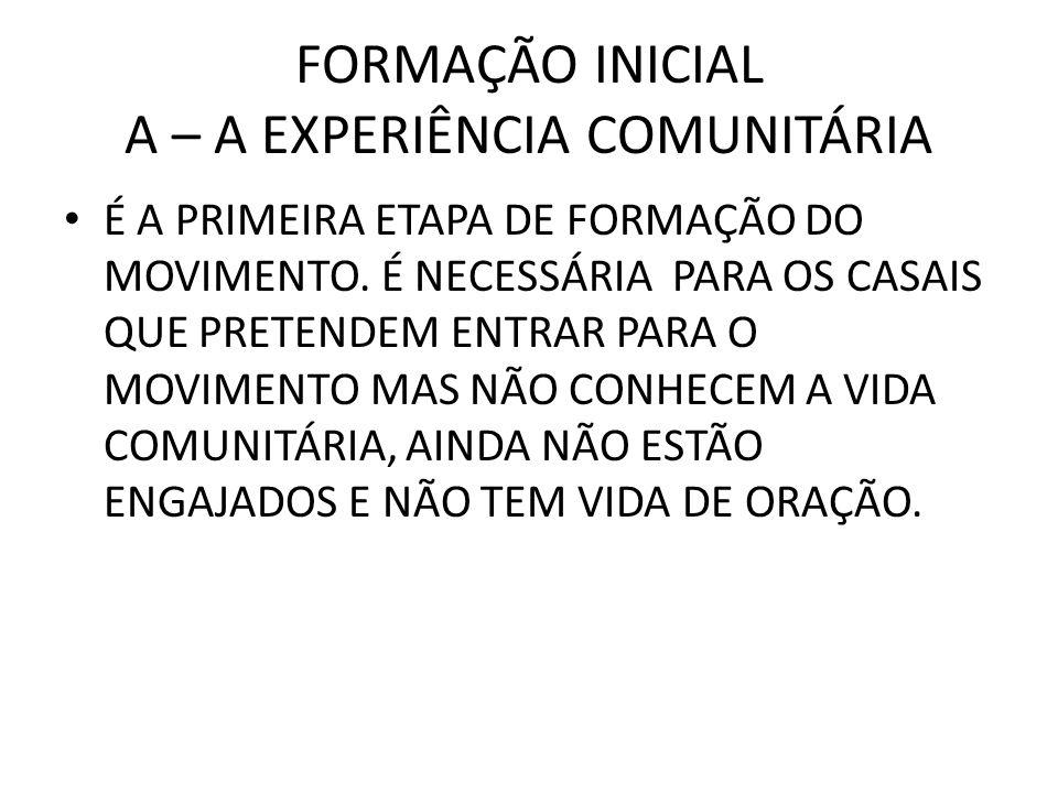 FORMAÇÃO INICIAL A – A EXPERIÊNCIA COMUNITÁRIA