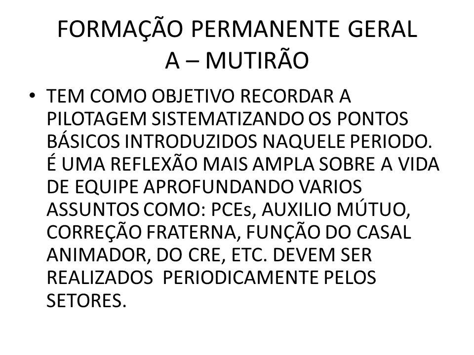 FORMAÇÃO PERMANENTE GERAL A – MUTIRÃO