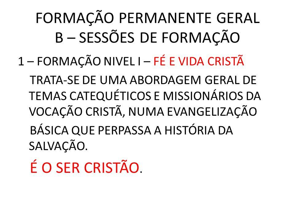 FORMAÇÃO PERMANENTE GERAL B – SESSÕES DE FORMAÇÃO