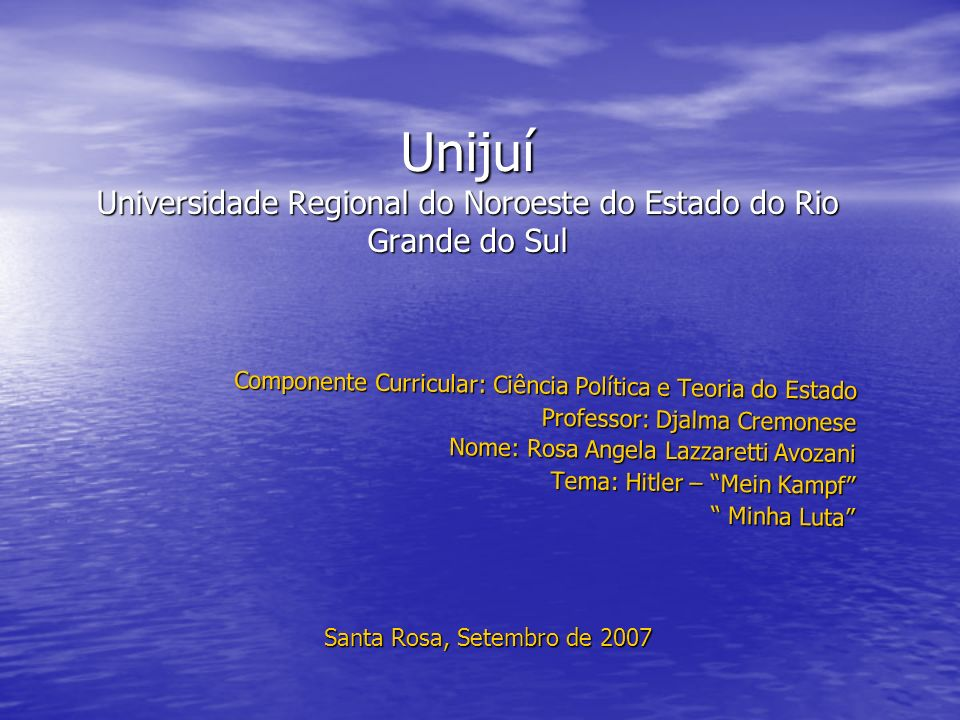 Unijuí Universidade Regional do Noroeste do Estado do Rio Grande do Sul