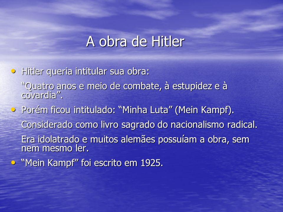 A obra de Hitler Hitler queria intitular sua obra:
